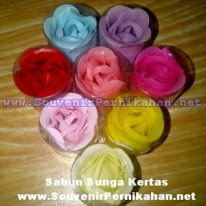 Souvenir Sabun Kertas bentuk Bunga Warna Warni
