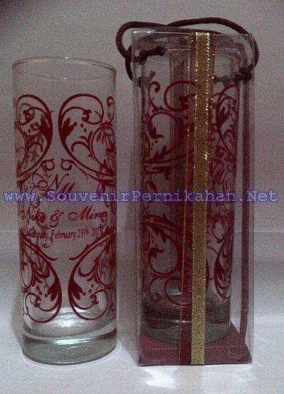 souvenir gelas murah bentuk slim bening